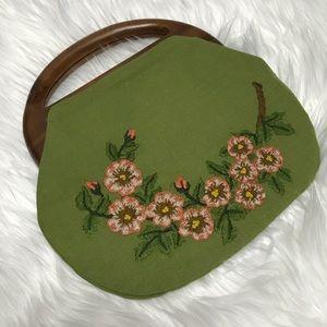 VINTAGE embroidered floral green handbag
